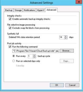 Veeam Backup Cloud Edition post backup job properties