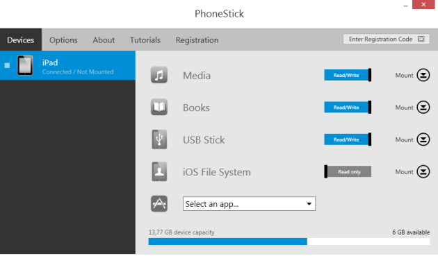 PhoneStick-main-menu